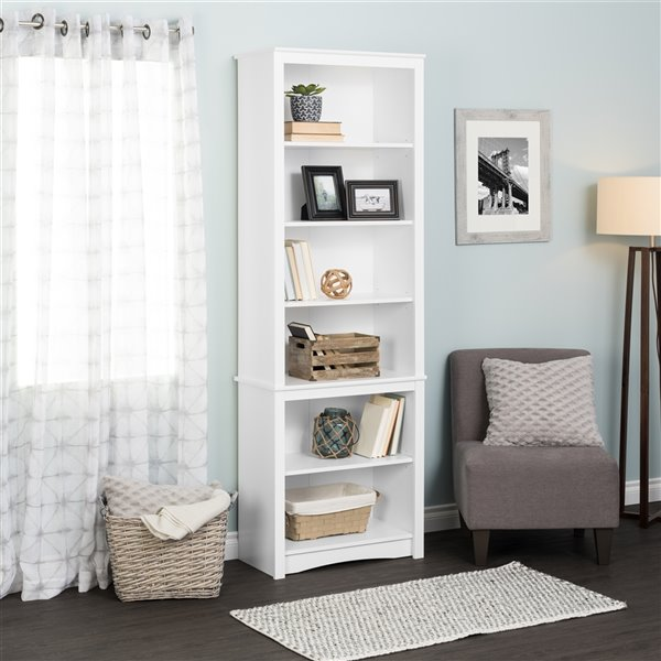 Prepac Tall Bookcase with 6 Shelves and White Finish - 80-in