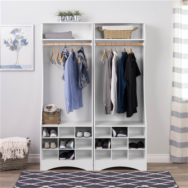 Prepac Compact Wardrobe with Shoe Storage in White Finish - 72-in x 25-in x 15.75-in