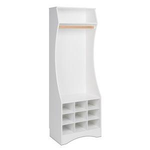 Penderie compacte avec rangement pour chaussures, blanche, 72 po x 25 po x 15.75 po