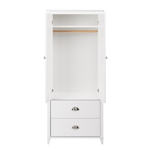 Prepac Yaletown Armoire in White Finish - 21-in x 72-in x 31.5-in