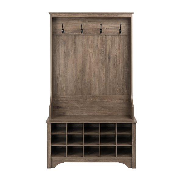 Prepac Hall Tree with Shoe Storage in Drifted Gray Finish - 68-in x 38-in x 15.75-in