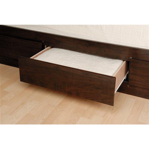Prepac Platform Storage Bed with 6 Drawers - Warm Cherry Finish - Queen