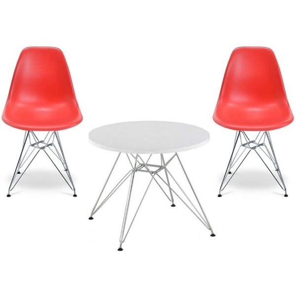 Plata Import Eames Style Kid's Set 2 Chairs and 1 Table in Red with Chrome Legs