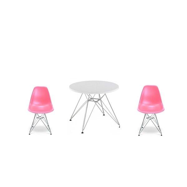 Ensemble pour enfants 2 chaises et 1 table style Eames de Plata Import rose et pied chromé