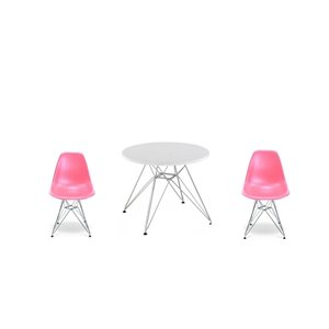 Plata Import Eames Style Kid's Set 2 Chairs and 1 Table in Pink with Chrome Legs