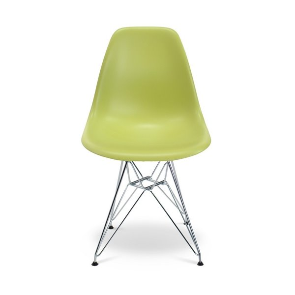 Plata Import Eames Style Kid's Set  2 Chairs and 1 Table in Green with Chrome Legs