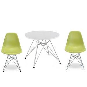 Ensemble pour enfants 2 chaises et 1 table style Eames de Plata Import vert et pied chromé
