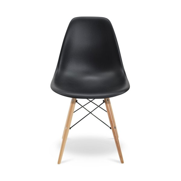 Plata Import Eames Style Kid's Set 2 Chairs and 1 Table in Black with Wood Legs
