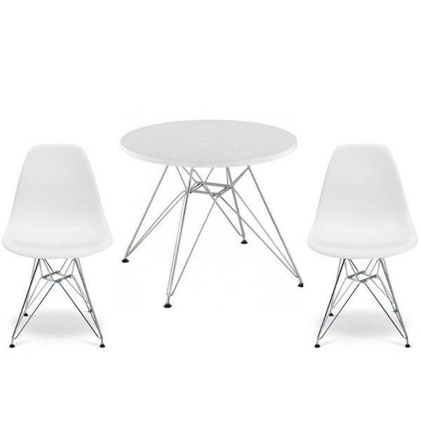Plata Import Eames Style Kid's Set 2 Chairs and 1 Table in White with Chrome Legs