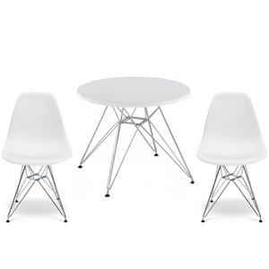 Ensemble pour enfants 2 chaises et 1 table style Eames de Plata Import blanc et pied chromé