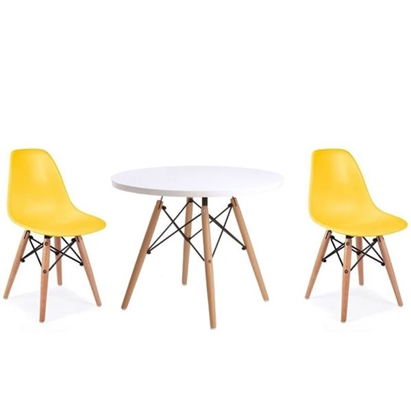 Plata Import Eames Style Kid's Set  2 Chairs and 1 Table in Yellow with Wood Legs