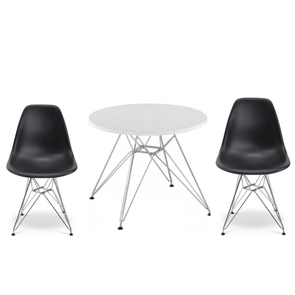 Plata Import Eames Style Kid's Set 2 Chairs and 1 Table in Black with Chrome Legs