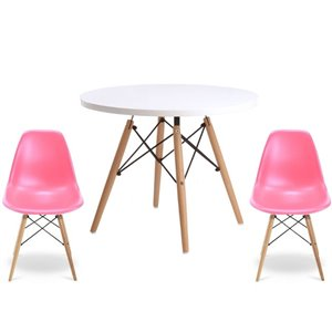 Plata Import Eames Style Kid's Set 2 Chairs and 1 Table in Pink with Wood Legs