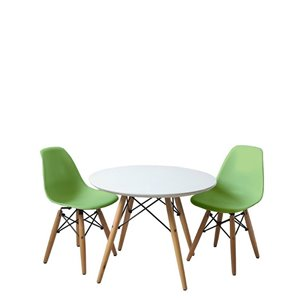 Plata Import Eames Style Kid's Set 2 Chairs and 1 Table in Green with Wood Legs