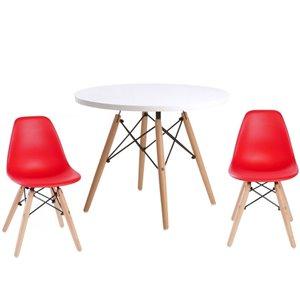 Ensemble pour enfants 2 chaises et 1 table style Eames de Plata Import rouge et pied en bois