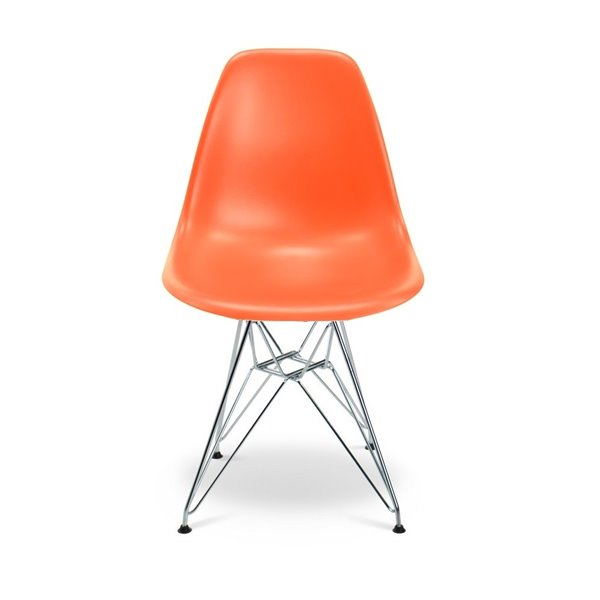 Plata Import Eames Style Kid's Set 2 Chairs and 1 Table in Orange with Chrome Legs