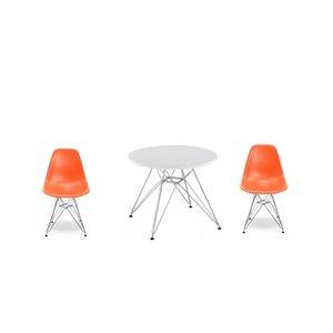 Ensemble pour enfants 2 chaises et 1 table style Eames de Plata Import orange et pied chromé