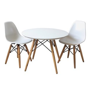 Plata Import Eames Style Kid's Set 2 Chairs and 1 Table in White with Wood Legs