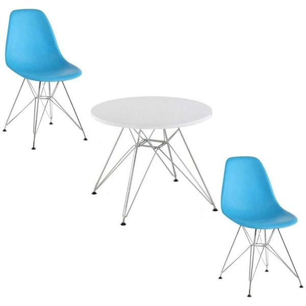 Plata Import Eames Style Kid's Set 2 Chairs and 1 Table in Blue with Chrome Legs