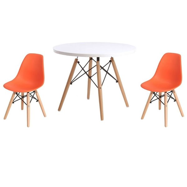 Plata Import Eames Style Kid's Set2 Chairs and 1 Table in Orange with Wood Legs
