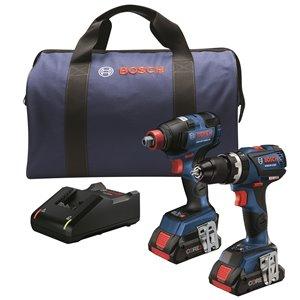 Bosch 2-in-1 Hammer Drill/Driver Combo Kit - 4.0 AH Batteries - 18 V