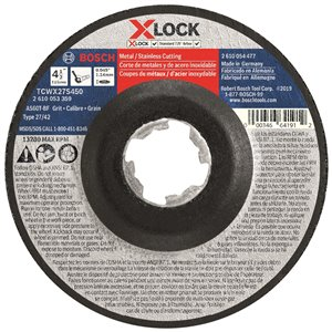 Bosch X-Lock Arbor Type 27A, 60 Grit Cutting Abrasive Wheel - 4.5-in x .045-in