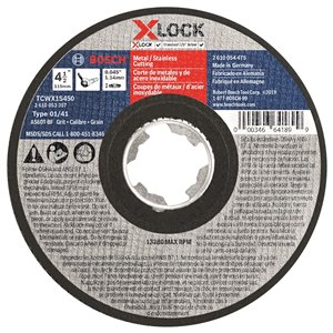 Bosch X-Lock Arbor Type 1A 60 Metal Cutting Abrasive Wheel - 4.5-in x .045-in