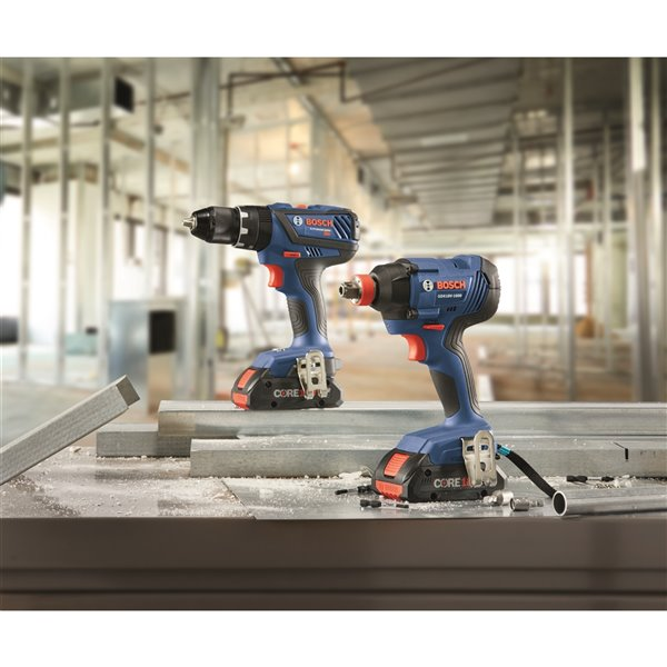 Bosch Kit with Hammer Drill/Driver, Impact Driver and 4.0 AH Batteries - 18 V