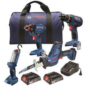 Ensemble de 4 outils avec perceuse/visseuse de Bosch, 18 V