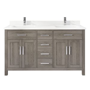 Ikou Kate Double Sink Grey Bathroom Vanity with Power Bar & Drawer Organizer 60-in
