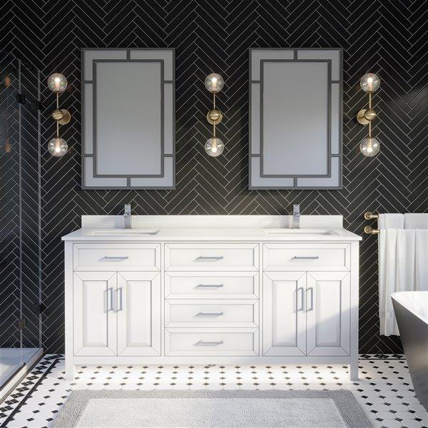 Meuble lavabo double Thomas de Ikou pour salle de bain, barre d'alimentation et organisateur de tiroirs, blanc, 72 po