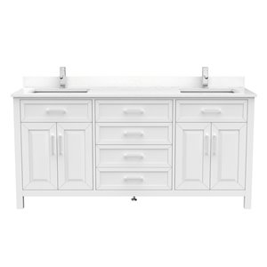 Ikou Thomas Double Sink White Bathroom Vanity with Power Bar & Drawer Organizer 72-in