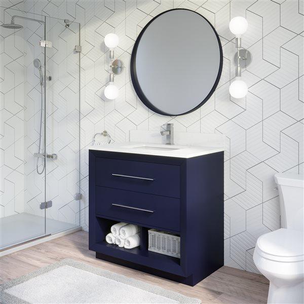 Ikou Riley Single Sink Blue Bathroom Vanity with Power Bar & Drawer Organizer 36-in