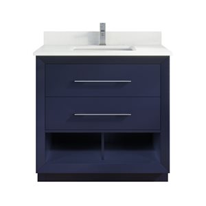 Ikou Riley Single Sink Blue Bathroom Vanity with Power Bar & Drawer Organizer 36-in