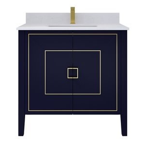 Ikou Hayden Bathroom Vanity with Single Sink Navy and Power Bar - Blue - 36-in