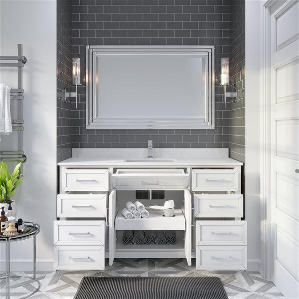 Ikou Thomas Single Sink White Bathroom Vanity with Power Bar & Drawer Organizer 60-in