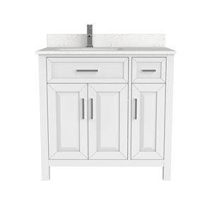 Meuble lavabo simple Thomas de Ikou pour salle de bain, barre d'alimentation et organisateur de tiroirs, blanc, 36 po