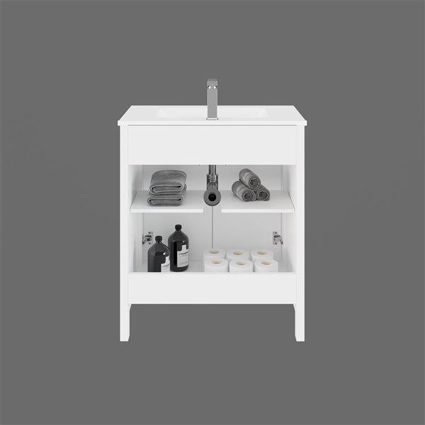 Ikou Hero Bathroom Vanity with Single Sink - White Finish - 30-in
