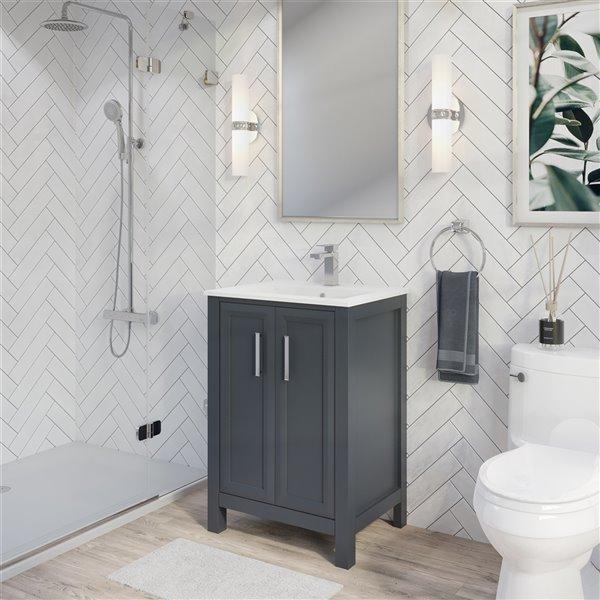 Ikou Hero Bathroom Vanity with Single Sink - Pepper Grey Finish - 24-in