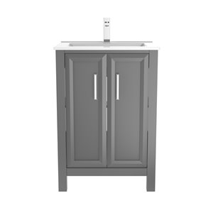 Ikou Hero Bathroom Vanity with Single Sink - Pepper Grey Finish - 24-in