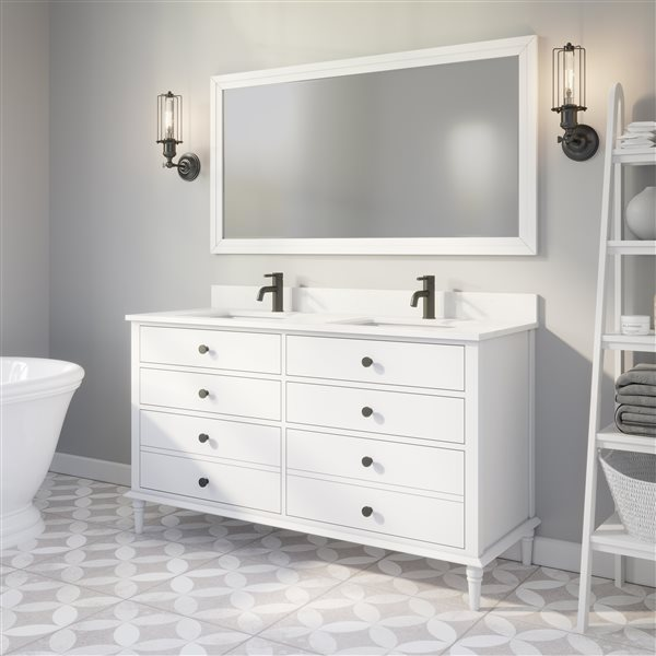 Ikou Farrow Double Sink White Bathroom Vanity with Power Bar & Drawer Organizer 60-in