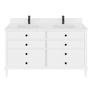 Ikou Farrow Double Sink White Bathroom Vanity with Power Bar & Drawer Organizer 60-in