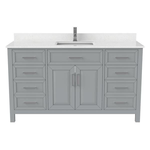 Ikou Thomas Single Sink Grey Bathroom Vanity with Power Bar & Drawer Organizer 60-in