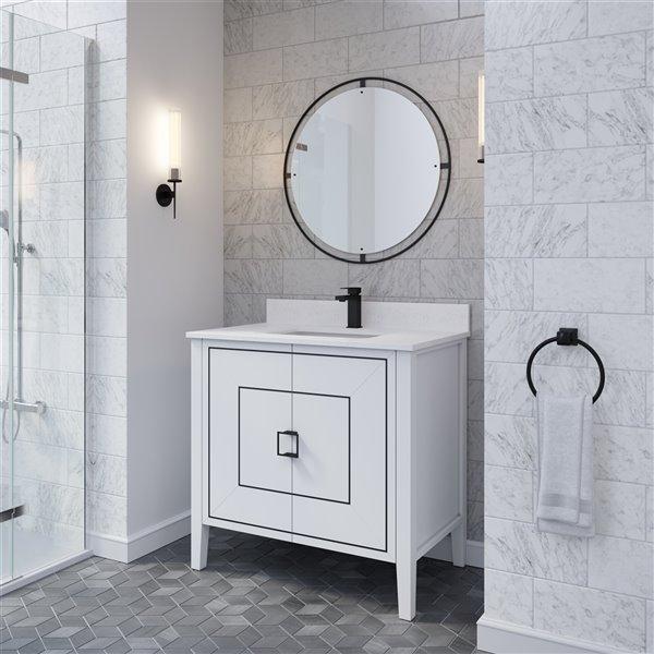 Spa Bathe Ikou Hayden Bathroom Vanity With Single Sink And Power Bar White 36 In Ha36wh Rona