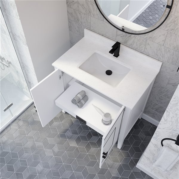 Ikou Hayden Bathroom Vanity with Single Sink and Power Bar - White -36-in