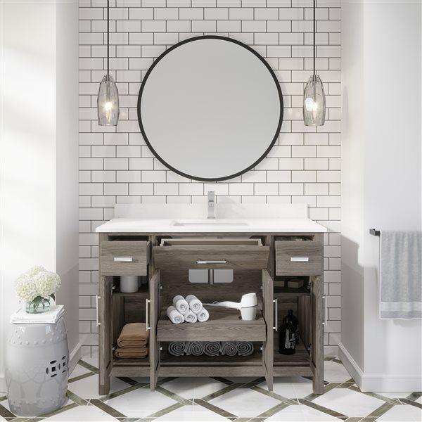 Ikou Kate Single Sink Grey Bathroom Vanity with Power Bar & Drawer Organizer 48-in