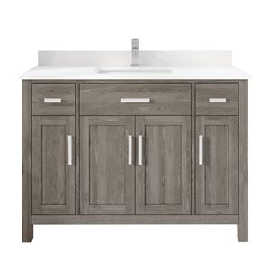 Ikou Kate Single Sink Grey Bathroom Vanity with Power Bar & Drawer Organizer 48-in