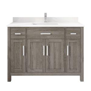 Meuble lavabo simple Kate de Ikou pour salle de bain, barre d'alimentation et organisateur de tiroirs, gris, 48 po