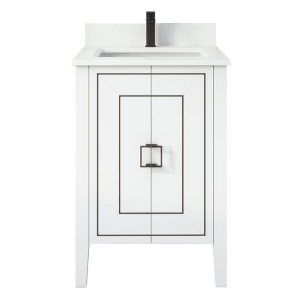 Ikou Hayden Bathroom Vanity with Single Sink - White Finish - 24-in