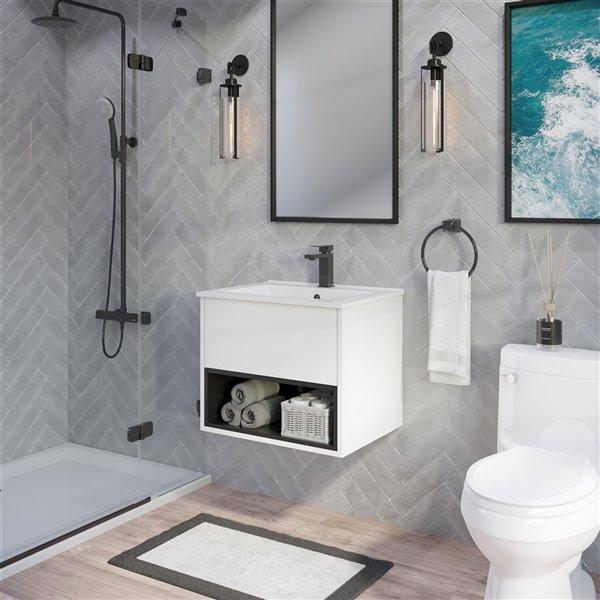 Meuble lavabo simple Midtown de Ikou pour salle de bain au fini blanc, 24 po